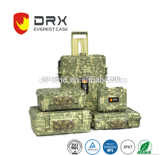 Hard gun case plastic waterproof shockproof camouflage color military case