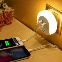 Newest LED Night Light LED Emergency Lamp With Light Sensor and Dual USB Wall Plate Charger Wall light For rooms Office Home
