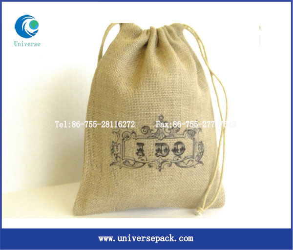 Printed logo eco organic jute pouches drawstring wholesale