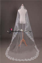 One Layer Ivory and Red 3m long wedding dress veil