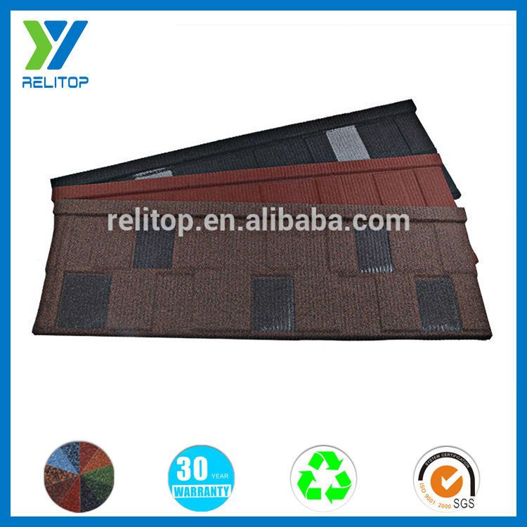 Stones coated new products varied colors metal roof shingle
