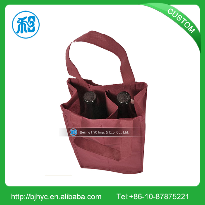 Customized logo printed reusable multiple wine non woven bottle drink carry bags