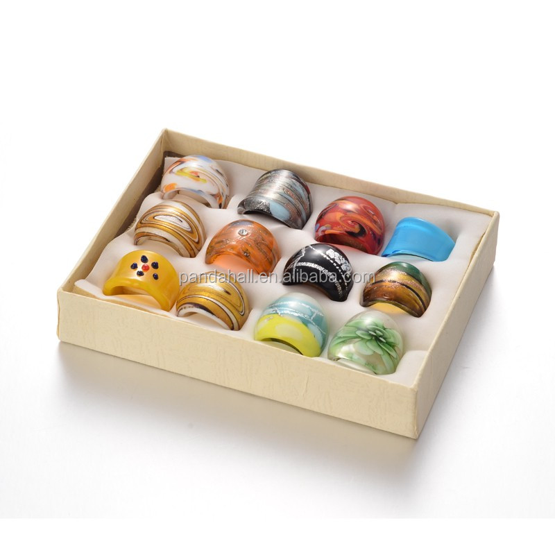 Mixed Sizes 6.5-10 Box Handmade Lampwork Wide Band <strong>Rings</strong>