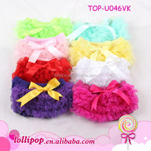 Best-selling chiffon comfortable fashion solid color infant toddler baby bow knotted bloomers lace baby bloomer