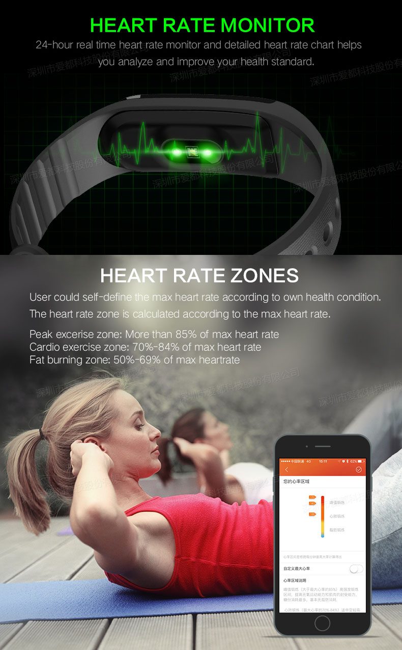 Unlock USB Cable Charging Bluetooth 4.0 Smart Fitness Tracker Smart Bracelet with Colorful Band