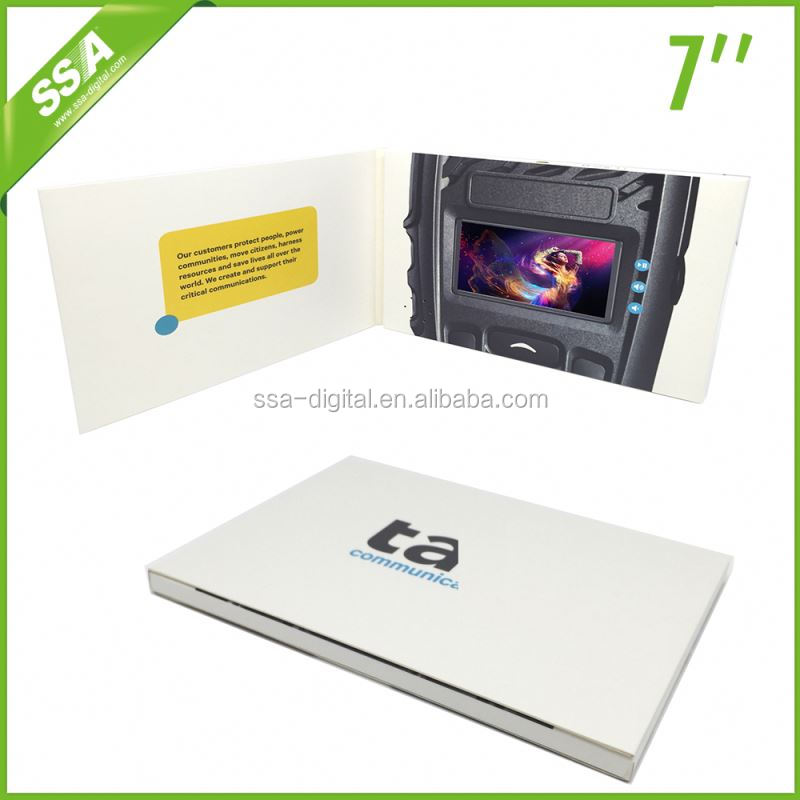 business card with lcd, video invitation with 7 inches screen
