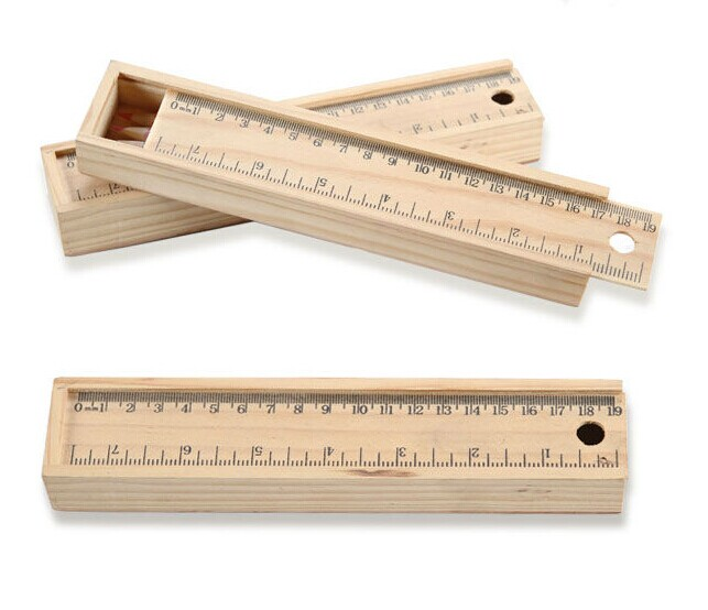 wooden drawer type pencil box pencil case with ruler