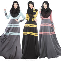 Kaftan Abaya Jilbab Islamic Muslim Bow Slim Women Long Sleeve Vintage Maxi Dress