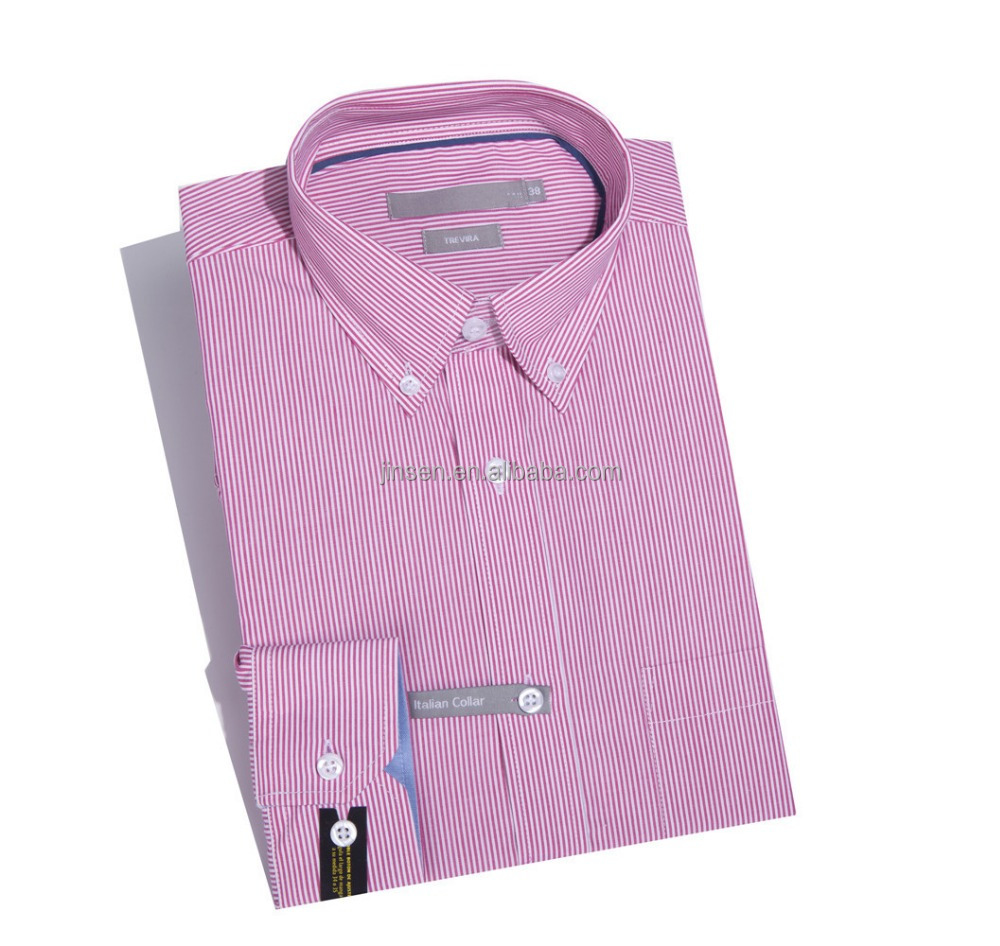 Fancy Bright Pink Stripe Long Sleeve Formal Shirts for Men