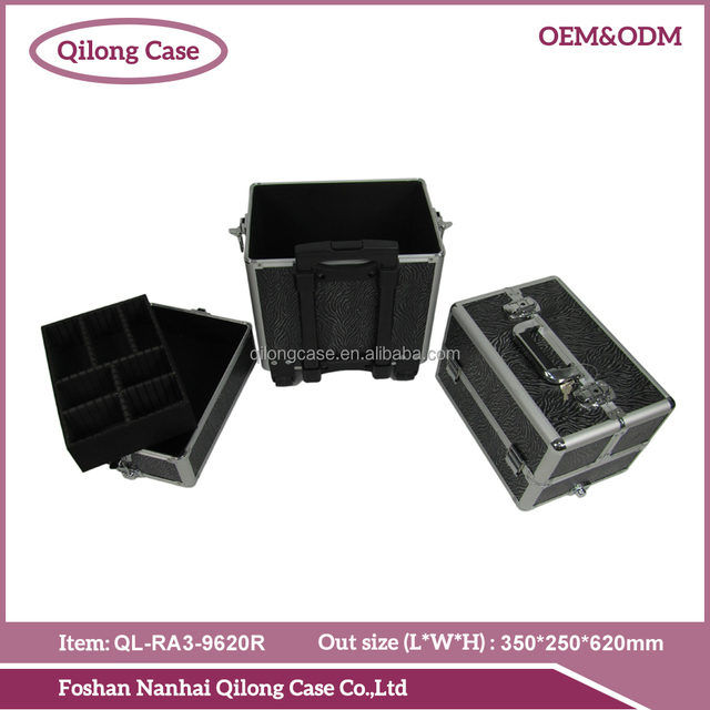 3 in 1 Aluminum Cosmetic Case With Trolley Wheels
