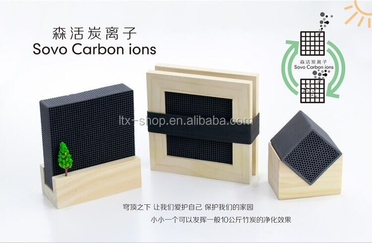 New Arrival Honeycomb Shape Activate Carbon Ions Air Fresheners Made Of Single Carbon - Wood