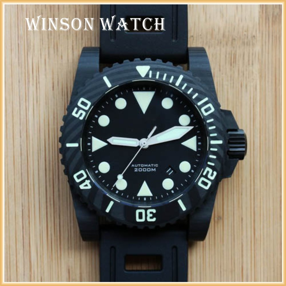 carbon fiber watch case, rubber strap , automatic movement . carbon watch