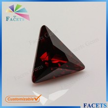 Factory Direct Sale Rough Cubic Zirconia Gemstone Market Wholesale Triangle Red Garnet Stone Precious