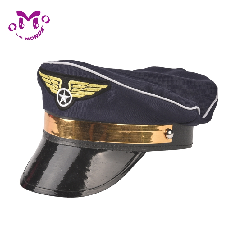 Manufacture Polyester Fashion adult black gold Army cap festival man hat