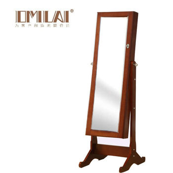 leaning floor mirror with jewelry armoire-white black pink brown