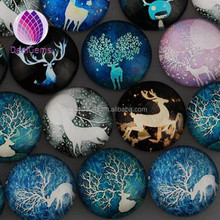 New flat 7*30mm round transparant clear glass cabochon with cute deer picture