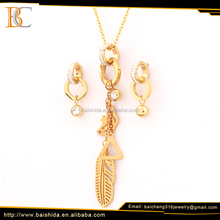 China factory supplier big fashion jewelry set leaf shape stainless steel for wedding women