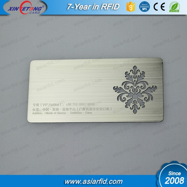 Personalize brushing metal business card, stainless steel VIP membership card with engraved serial number for club