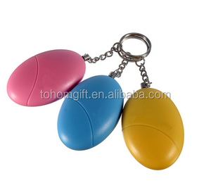 Promotional Gift Anti Wolf Alarm Egg Shaped Security Protect Alert Personal Safety Scream Loud Keychain Alarm For Women Lady