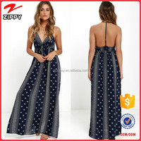2016 new design maxi dress womens printed black long maxi dress with blank back