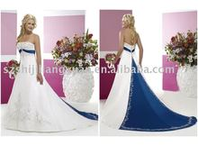 sj0222 white and royal blue embroidery grand wedding dress