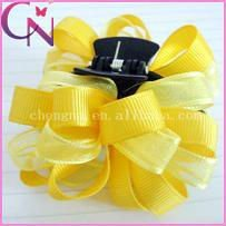 high quality handmade organza and solid grosgrain ribbon hair bow for baby (CNCHF-142)