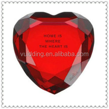 Heart Shape Red Crystal Diamond With Personality Engravings Gifts