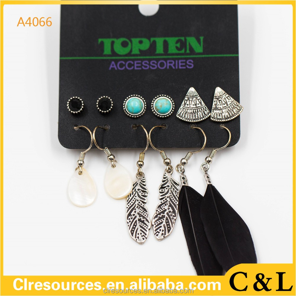 new <strong>fashion</strong> 6 pairs/set earring for women