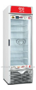 Single door upright display freezer, self-contained refrigeration with hot gas condenser