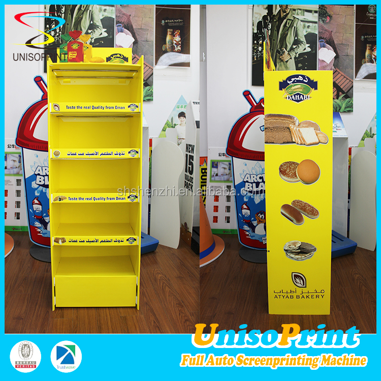 UNISO 2015 waterproof factory custom bread cardboard/corrugated plastic display stand