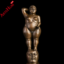 Bronze Artificial Casting Modern sexy Nude Fat Woman Sculpture For Indoor Decor