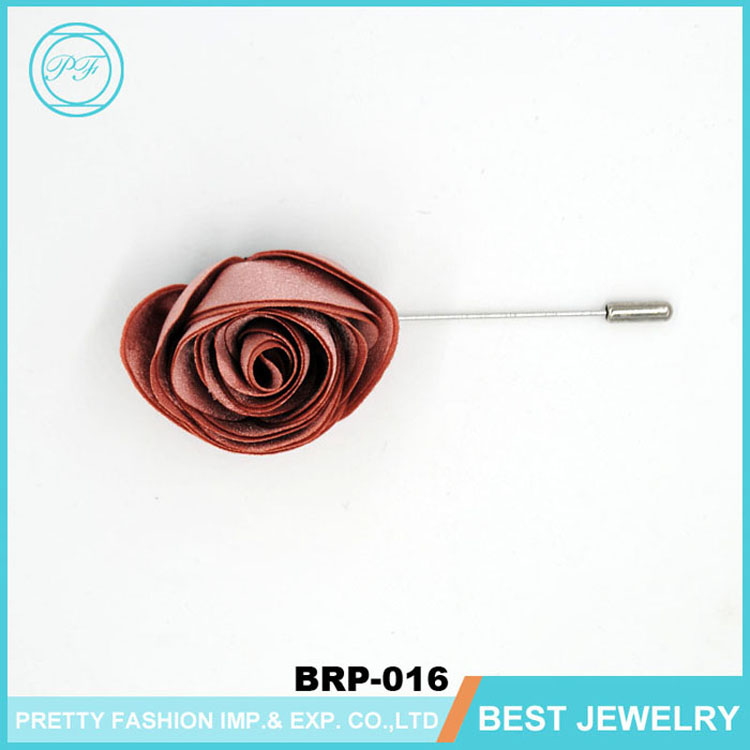 Hot Sale Fashionl Flower Brooch Fabric Handmade Lapel Pins Suit , Party Long Pin Wedding Rose Brooches For Men