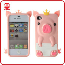 3D Cute Crown Pig Design Mobile Phone Silicon Case for iphone4