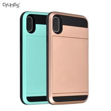 Sliding Card Holder for iPhone X Wallet Case Secret ID Slot Rugged Hard Shell Skin Soft TPU Rubber Hybrid Bumper Armor Case