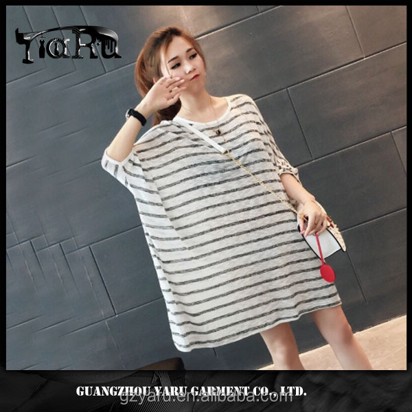 casual short sleeve round neck loose stripe batwing shirt new design for women