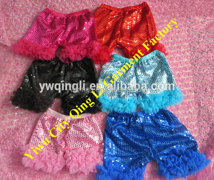 Wholesale Baby colorful Newborn Shiny Sequin Short Double Ruffles Lace Shorts