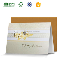 Wholesale new arrivals embossing flower wedding invitation letter card design