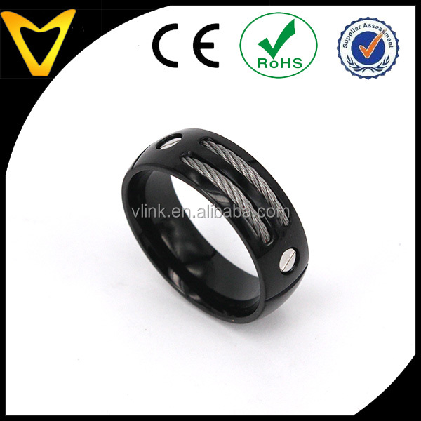 8mm Men's Gun Metal Black Titanium Magnetic Cable Ring Band Black Finger Ring
