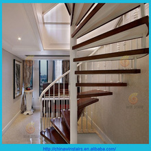 indoor wrought iron timber Spiral Stairs/white railing staircase