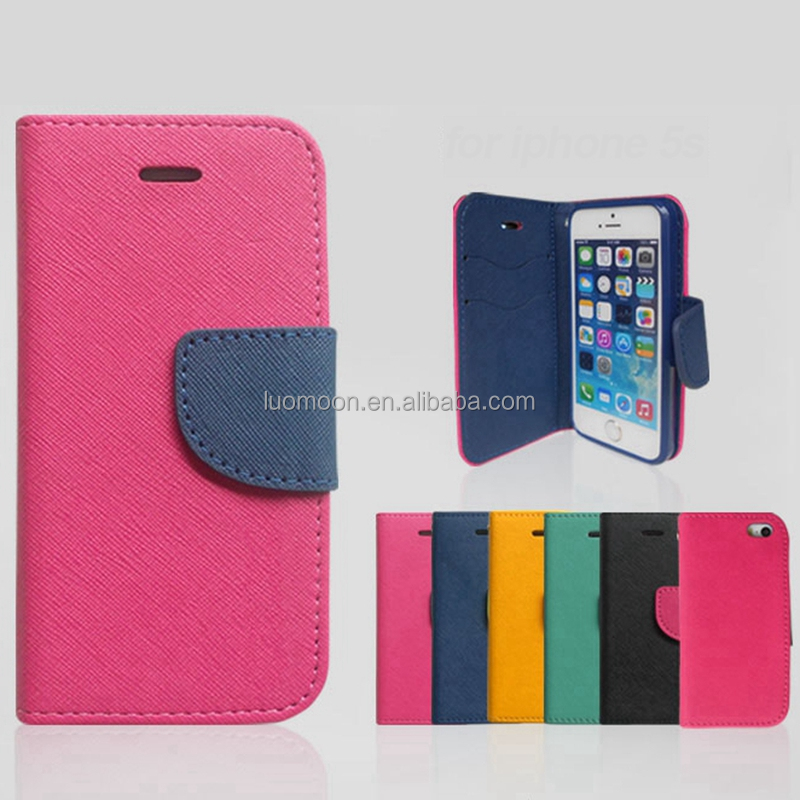 Cross Pattern Solid Color Leather Diary Case for Iphone 6