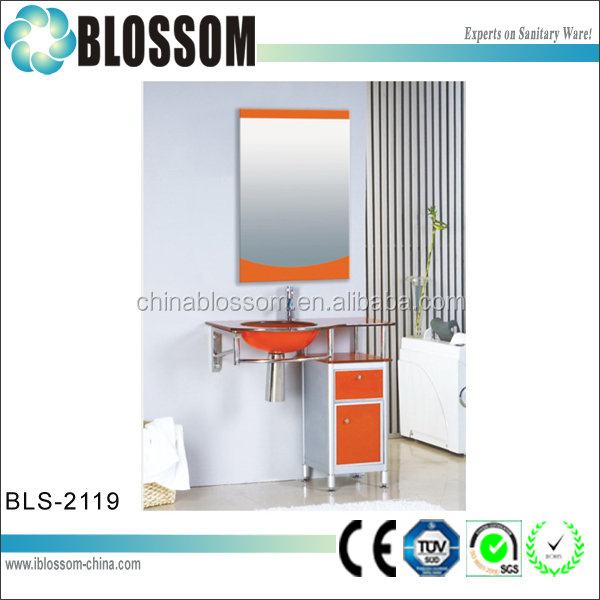 Hangzhou wholesale coloured glass basin bathroom vanities and sinks