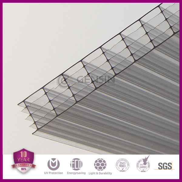 Haining high quality 100% virgin Sabic/Lexan material 8mm clear 5-wall rectangle polycarbonate hollow roofing sheet 2100*5800mm