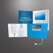 Smart video brochure card with Button control , A4 / A5 size digital video brochure