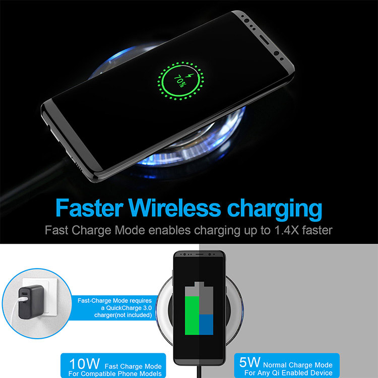 cheap transparent edge 10W wireless charging base