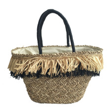 Flora straw bag with raffia tassels
