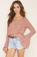 2016wholesale fashion summer long sleeve tops lady blouse new design