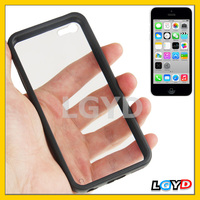 New Transparent optical Plastic + TPU Frame Case for iPhone 5C (Black)