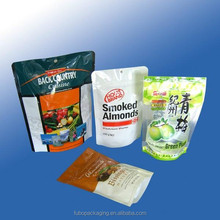 High grade self standing plastic food packaging bags with resealable zipper