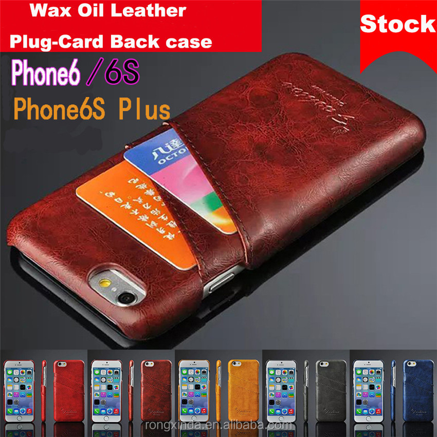 For iphone 7 alibaba express china suppliersWax Oil Leather Plug Card Wallet Leather Case for samsung galaxy s7 edge for iphone