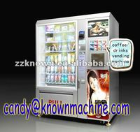 Automatic retail food vending machine with coffee vending machine